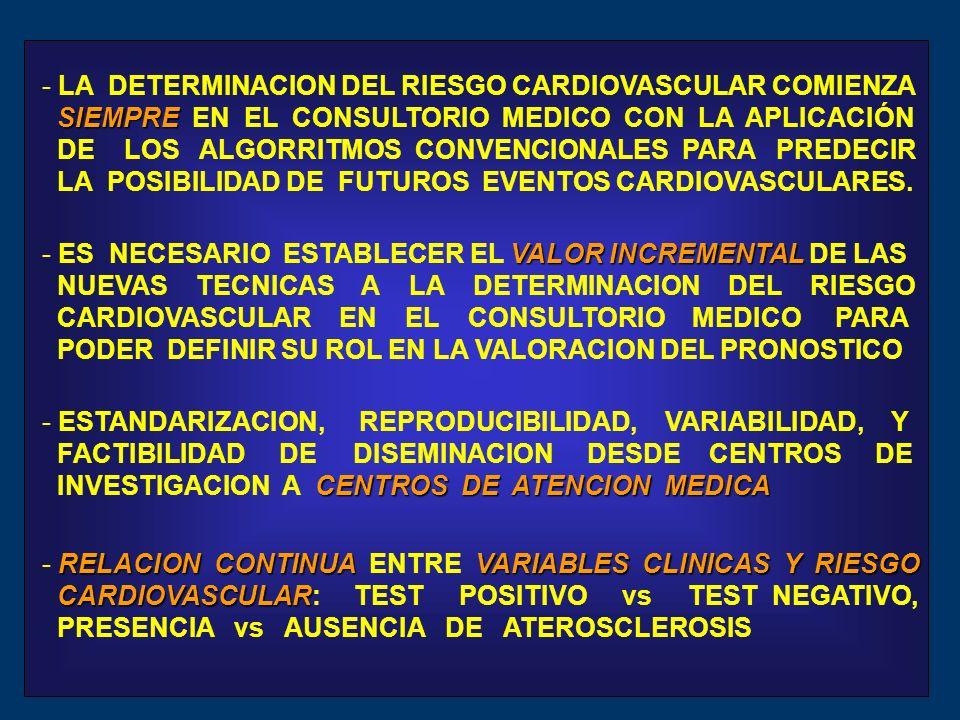 - LA DETERMINACION DEL RIESGO CARDIOVASCULAR COMIENZA SIEMPRE SIEMPRE EN EL CONSULTORIO MEDICO CON LA APLICACIÓN DE LOS ALGORRITMOS CONVENCIONALES PARA PREDECIR LA POSIBILIDAD DE FUTUROS EVENTOS CARDIOVASCULARES.