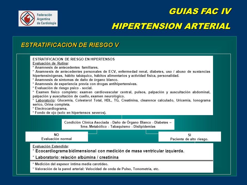 GUIAS FAC IV HIPERTENSION ARTERIAL ESTRATIFICACION DE RIESGO V Condición Clínica Asociada - Daño de Órgano Blanco - Diabetes – Sme.
