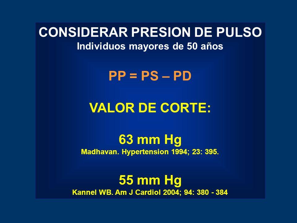 CONSIDERAR PRESION DE PULSO Individuos mayores de 50 años PP = PS – PD VALOR DE CORTE: 63 mm Hg Madhavan.