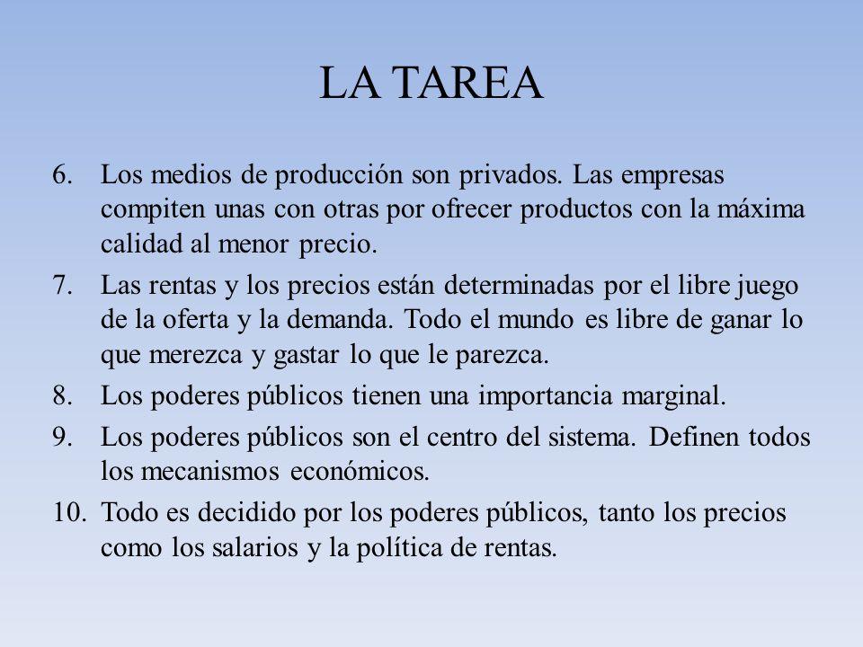 LA TAREA 6.Los medios de producción son privados. Las empresas compiten unas con otras por ofrecer productos con la máxima calidad al menor precio. 7.