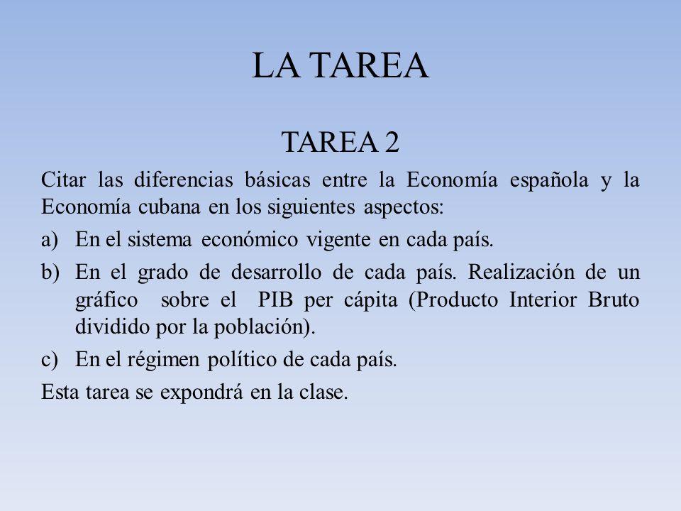 LA TAREA TAREA 2 Citar las diferencias básicas entre la Economía española y la Economía cubana en los siguientes aspectos: a)En el sistema económico v