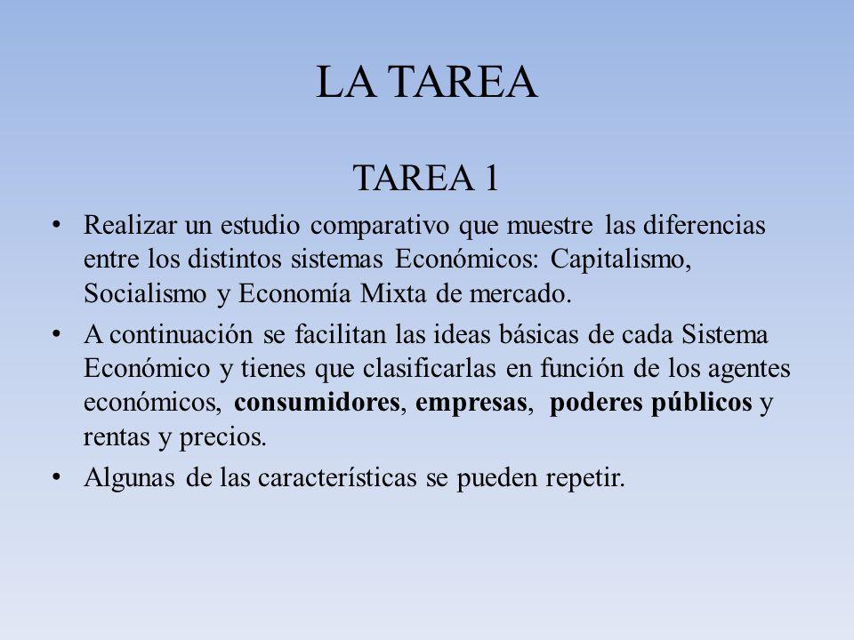 LA TAREA TAREA 1 Realizar un estudio comparativo que muestre las diferencias entre los distintos sistemas Económicos: Capitalismo, Socialismo y Econom