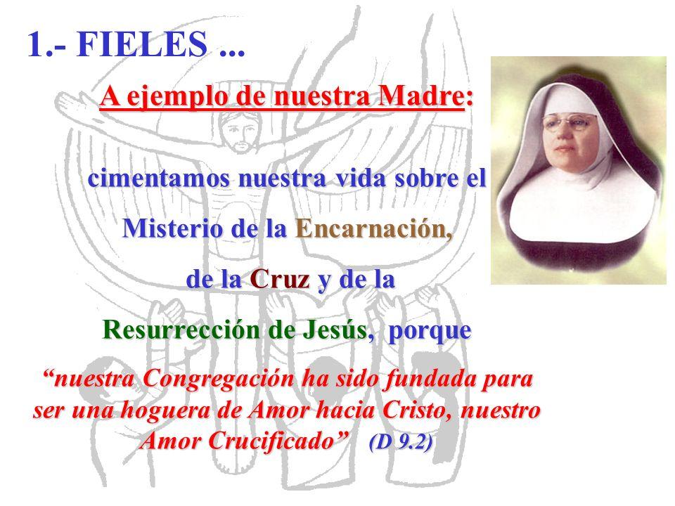 A ejemplo de nuestra Madre: cimentamos nuestra vida sobre el Misterio de la Encarnación, de la Cruz y de la de la Cruz y de la Resurrección de Jesús,