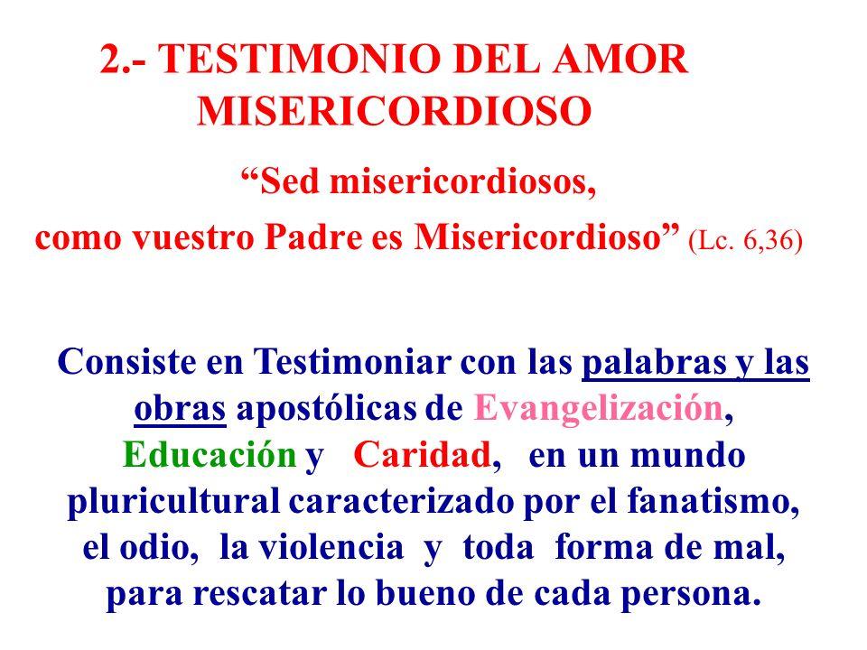 2.- TESTIMONIO DEL AMOR MISERICORDIOSO Sed misericordiosos, como vuestro Padre es Misericordioso (Lc. 6,36) Consiste en Testimoniar con las palabras y