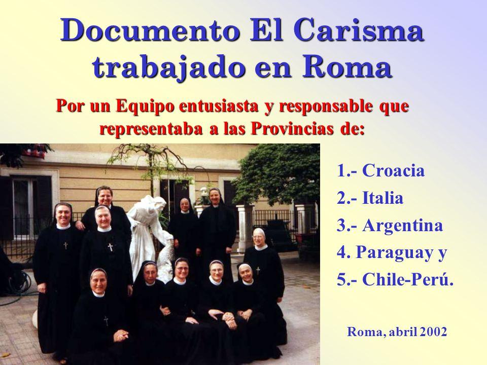 Documento El Carisma trabajado en Roma 1.- Croacia 2.- Italia 3.- Argentina 4. Paraguay y 5.- Chile-Perú. Roma, abril 2002 Por un Equipo entusiasta y