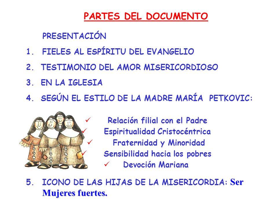 PARTES DEL DOCUMENTO PRESENTACIÓN 1.FIELES AL ESPÍRITU DEL EVANGELIO 2. TESTIMONIO DEL AMOR MISERICORDIOSO 3. EN LA IGLESIA 4. SEGÚN EL ESTILO DE LA M