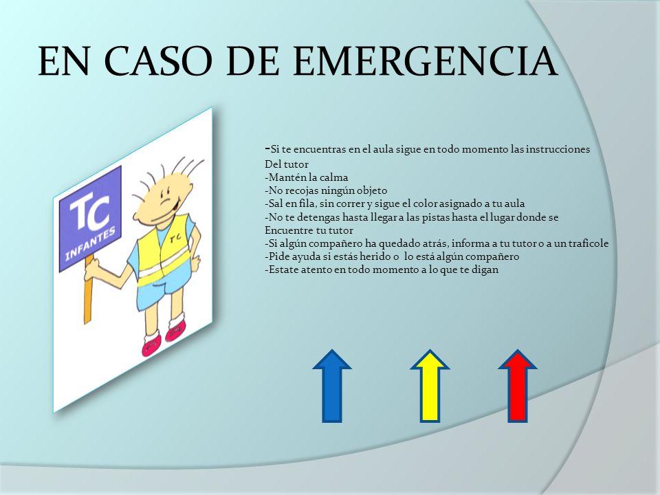 EN CASO DE EMERGENCIA - Si te encuentras en el aula sigue en todo momento las instrucciones Del tutor -Mantén la calma -No recojas ningún objeto -Sal