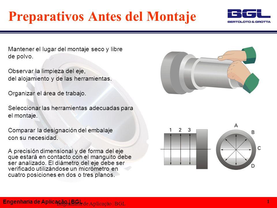 Engenharia de Aplicação | BGL 1 Preparativos Antes del Montaje Mantener el lugar del montaje seco y libre de polvo.
