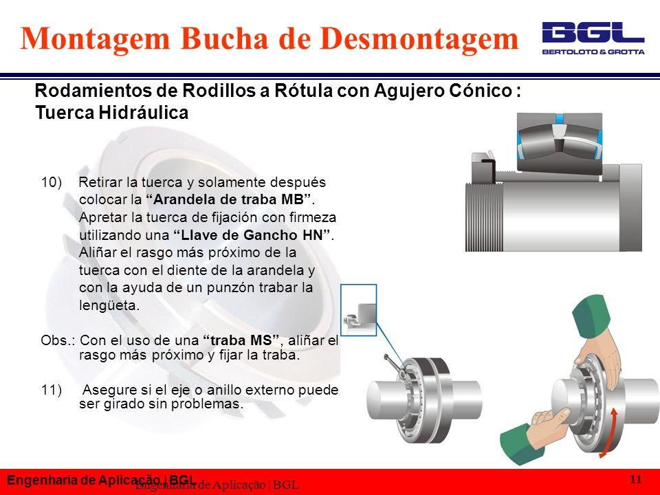 Engenharia de Aplicação | BGL 11 Montagem Bucha de Desmontagem 10) Retirar la tuerca y solamente después colocar la Arandela de traba MB.