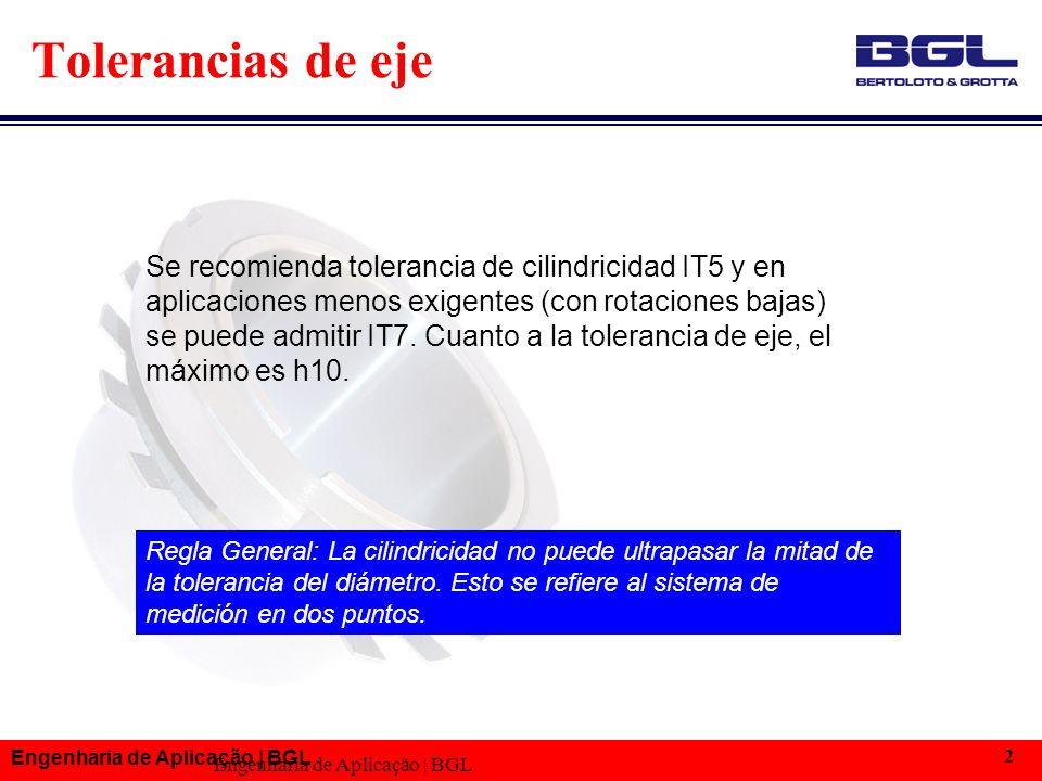 Engenharia de Aplicação | BGL 2 Se recomienda tolerancia de cilindricidad IT5 y en aplicaciones menos exigentes (con rotaciones bajas) se puede admitir IT7.