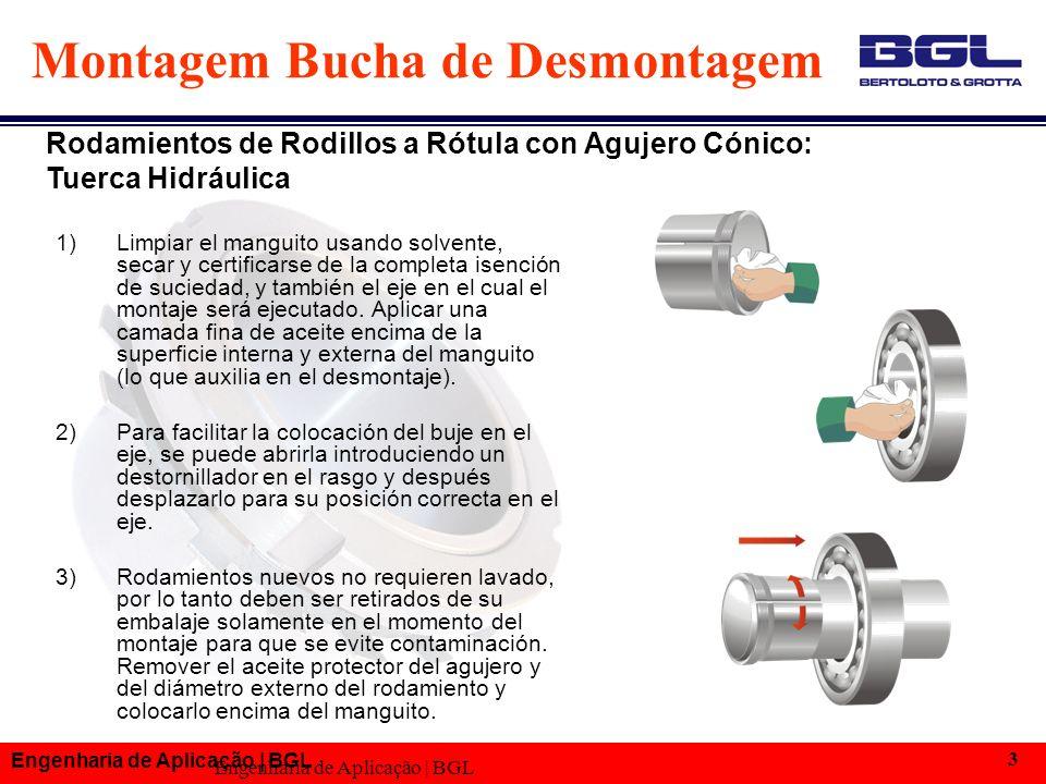 Engenharia de Aplicação | BGL 3 Montagem Bucha de Desmontagem 1)Limpiar el manguito usando solvente, secar y certificarse de la completa isención de suciedad, y también el eje en el cual el montaje será ejecutado.
