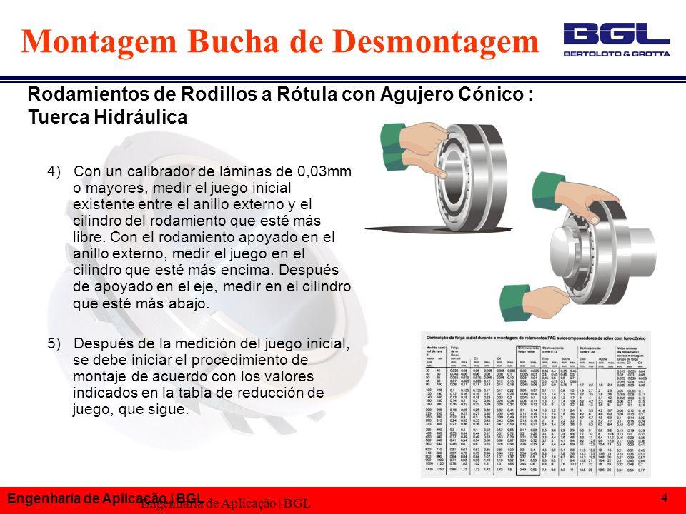 Engenharia de Aplicação | BGL 4 Montagem Bucha de Desmontagem 4) Con un calibrador de láminas de 0,03mm o mayores, medir el juego inicial existente entre el anillo externo y el cilindro del rodamiento que esté más libre.
