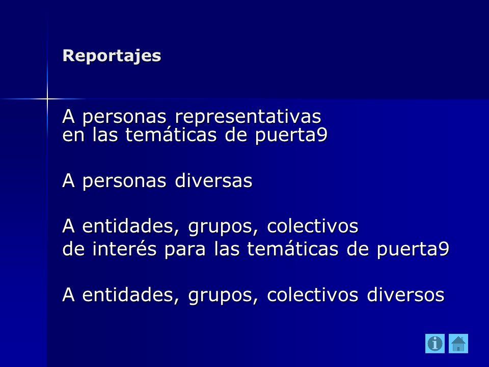 Reportajes A personas representativas en las temáticas de puerta9 A personas diversas A entidades, grupos, colectivos de interés para las temáticas de