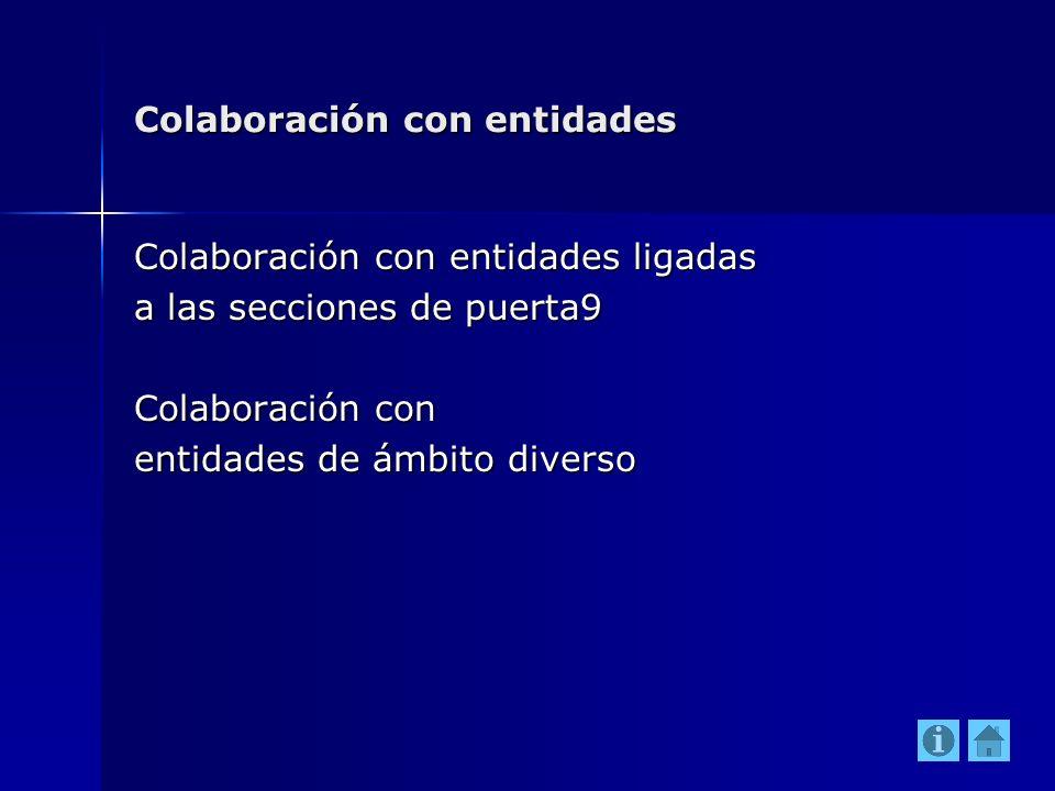 Colaboración con entidades Colaboración con entidades ligadas a las secciones de puerta9 Colaboración con entidades de ámbito diverso