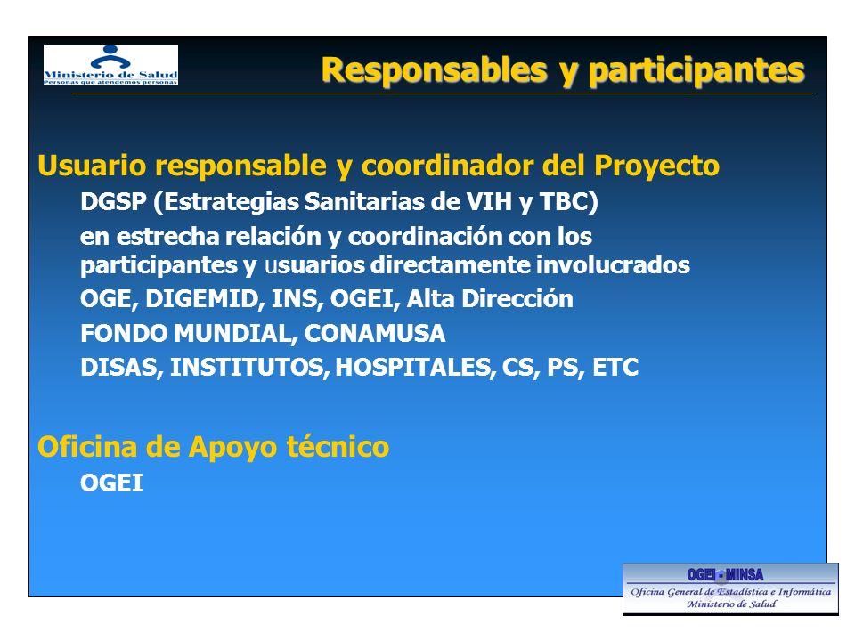 Responsables y participantes Usuario responsable y coordinador del Proyecto DGSP (Estrategias Sanitarias de VIH y TBC) en estrecha relación y coordina