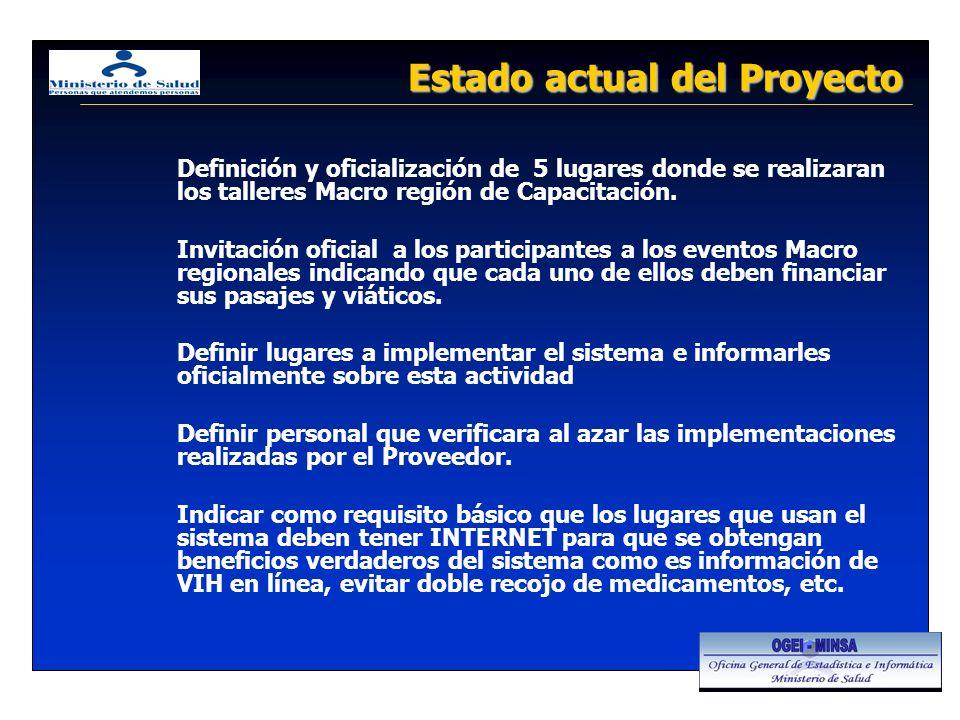 Estado actual del Proyecto Definición y oficialización de 5 lugares donde se realizaran los talleres Macro región de Capacitación.