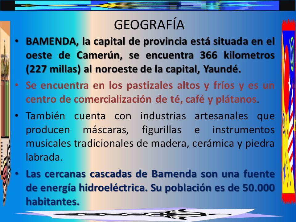 GEOGRAFÍA BAMENDA, la capital de provincia está situada en el oeste de Camerún, se encuentra 366 kilometros (227 millas) al noroeste de la capital, Yaundé.