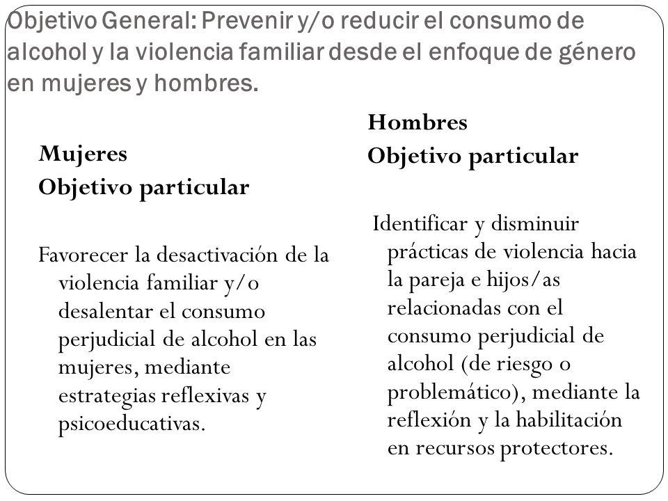Objetivo General: Prevenir y/o reducir el consumo de alcohol y la violencia familiar desde el enfoque de género en mujeres y hombres. Mujeres Objetivo