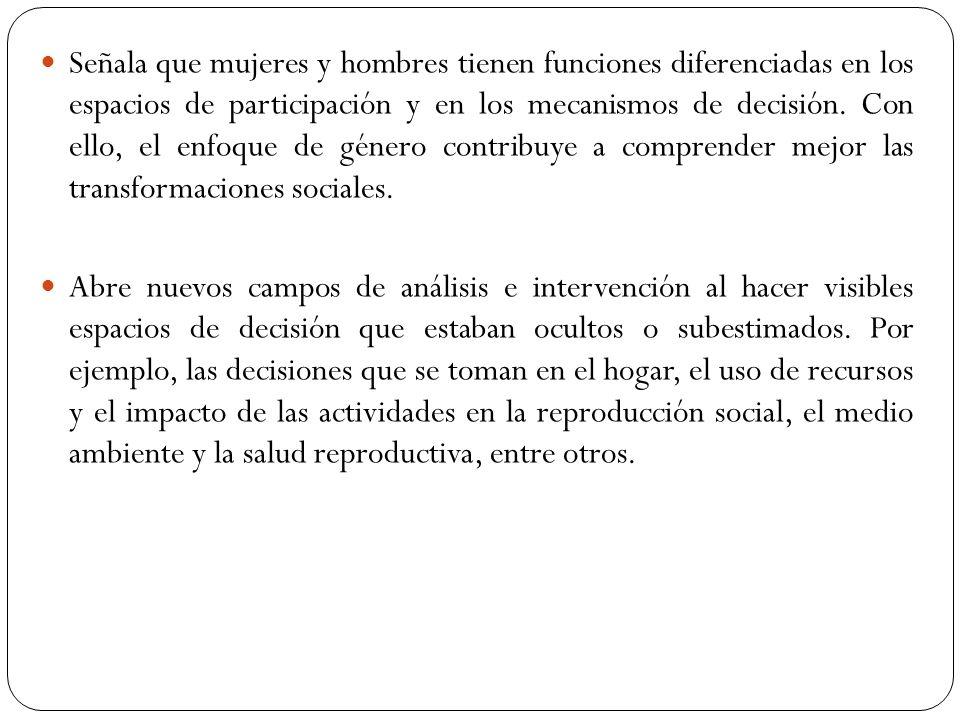 Señala que mujeres y hombres tienen funciones diferenciadas en los espacios de participación y en los mecanismos de decisión. Con ello, el enfoque de
