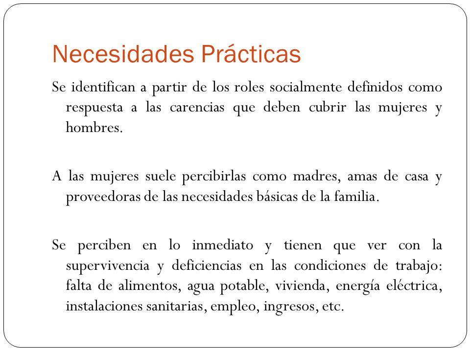 Necesidades Prácticas Se identifican a partir de los roles socialmente definidos como respuesta a las carencias que deben cubrir las mujeres y hombres
