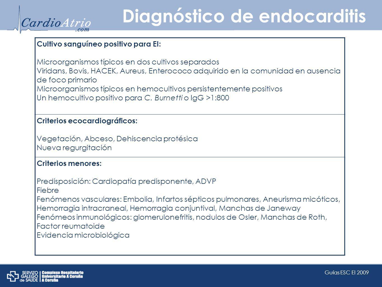 Diagnóstico de endocarditis Cultivo sanguíneo positivo para EI: Microorganismos típicos en dos cultivos separados Viridans, Bovis, HACEK, Aureus, Ente