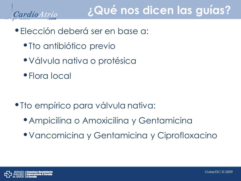 ¿Qué nos dicen las guías? Elección deberá ser en base a: Tto antibiótico previo Válvula nativa o protésica Flora local Tto empírico para válvula nativ