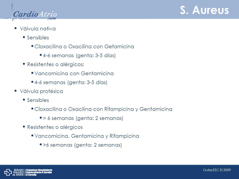 S. Aureus Válvula nativa Sensibles Cloxacilina o Oxacilina con Getamicina 4-6 semanas (genta: 3-5 días) Resistentes o alérgicos: Vancomicina con Genta