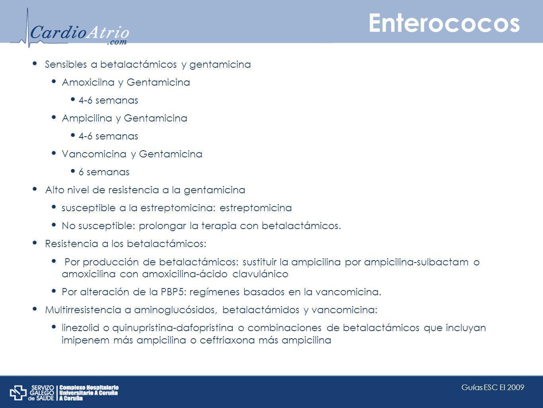 Enterococos Sensibles a betalactámicos y gentamicina Amoxicilna y Gentamicina 4-6 semanas Ampicilina y Gentamicina 4-6 semanas Vancomicina y Gentamici