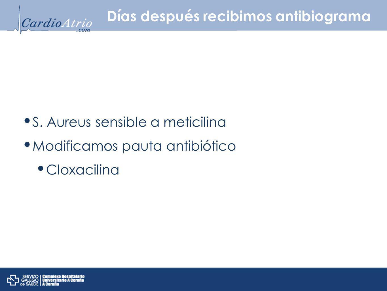 Días después recibimos antibiograma S. Aureus sensible a meticilina Modificamos pauta antibiótico Cloxacilina