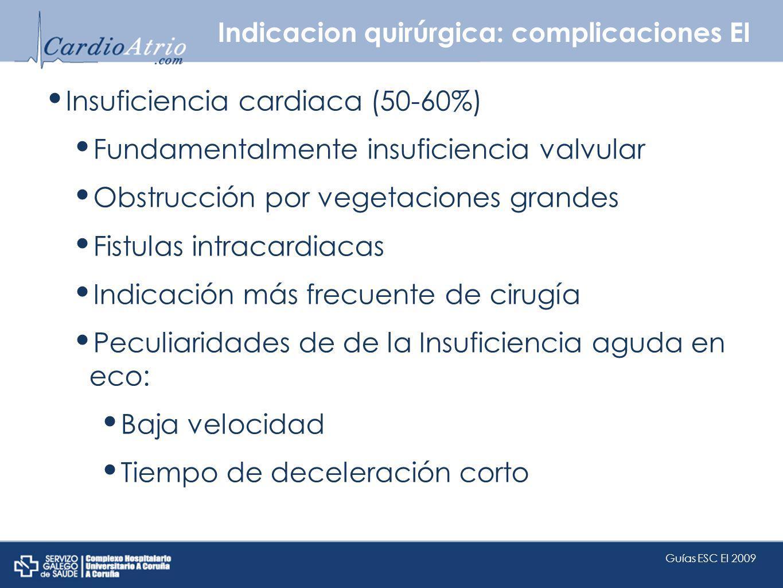 Indicacion quirúrgica: complicaciones EI Insuficiencia cardiaca (50-60%) Fundamentalmente insuficiencia valvular Obstrucción por vegetaciones grandes