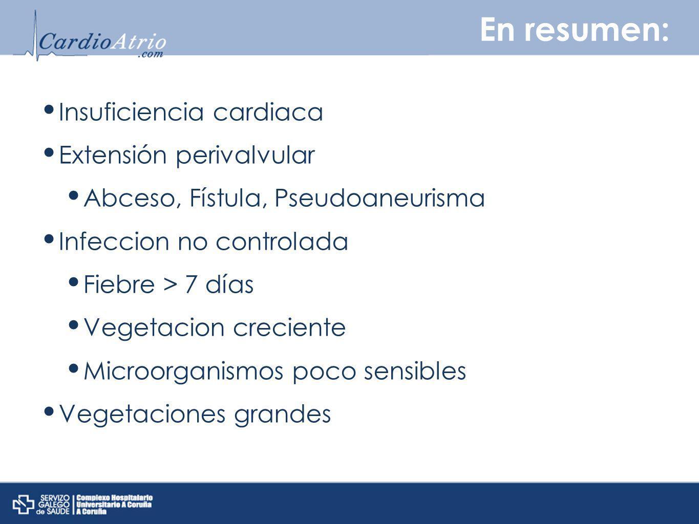 En resumen: Insuficiencia cardiaca Extensión perivalvular Abceso, Fístula, Pseudoaneurisma Infeccion no controlada Fiebre > 7 días Vegetacion crecient