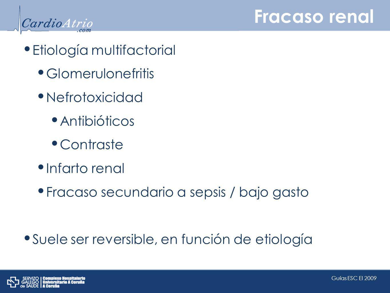 Fracaso renal Etiología multifactorial Glomerulonefritis Nefrotoxicidad Antibióticos Contraste Infarto renal Fracaso secundario a sepsis / bajo gasto