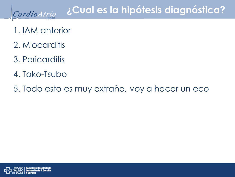 ¿Cual es la hipótesis diagnóstica? 1. IAM anterior 2. Miocarditis 3. Pericarditis 4. Tako-Tsubo 5. Todo esto es muy extraño, voy a hacer un eco