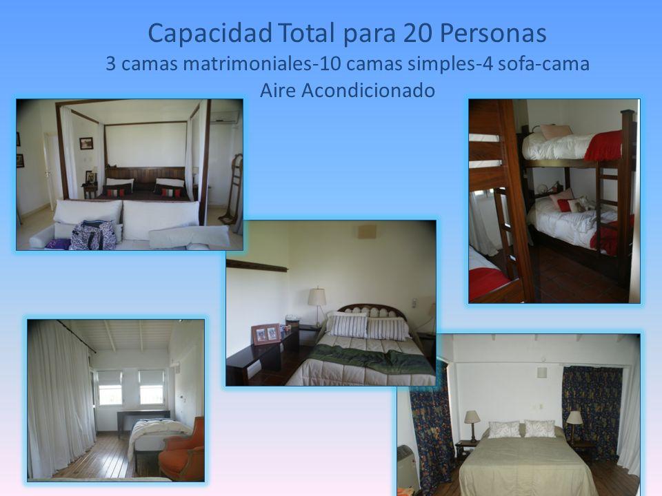 Capacidad Total para 20 Personas 3 camas matrimoniales-10 camas simples-4 sofa-cama Aire Acondicionado