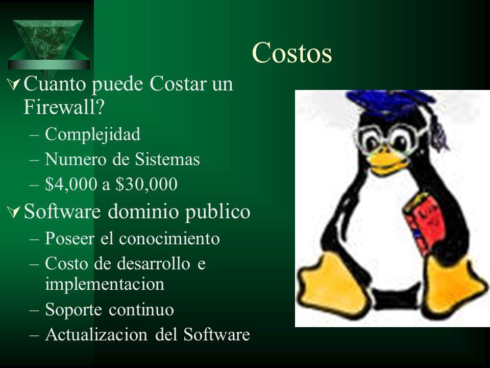 Costos Cuanto puede Costar un Firewall? –Complejidad –Numero de Sistemas –$4,000 a $30,000 Software dominio publico –Poseer el conocimiento –Costo de