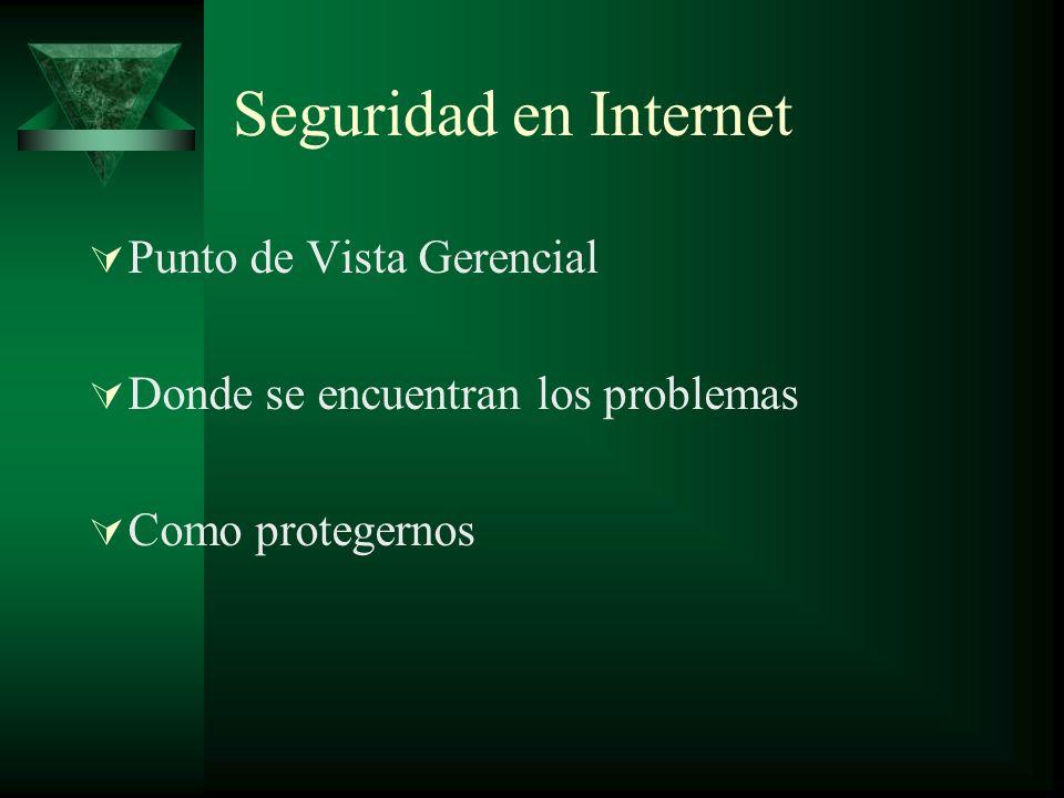 Seguridad en Internet Punto de Vista Gerencial Donde se encuentran los problemas Como protegernos