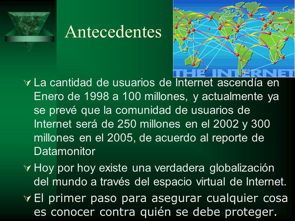 Antecedentes La cantidad de usuarios de Internet ascendía en Enero de 1998 a 100 millones, y actualmente ya se prevé que la comunidad de usuarios de I