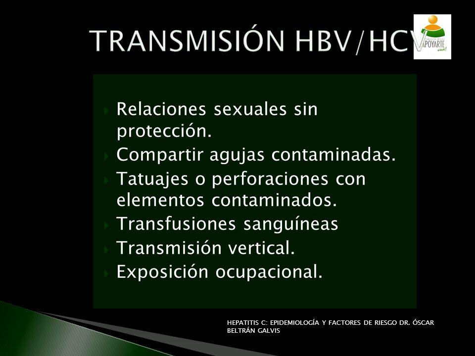 Relaciones sexuales sin protección. Compartir agujas contaminadas. Tatuajes o perforaciones con elementos contaminados. Transfusiones sanguíneas Trans