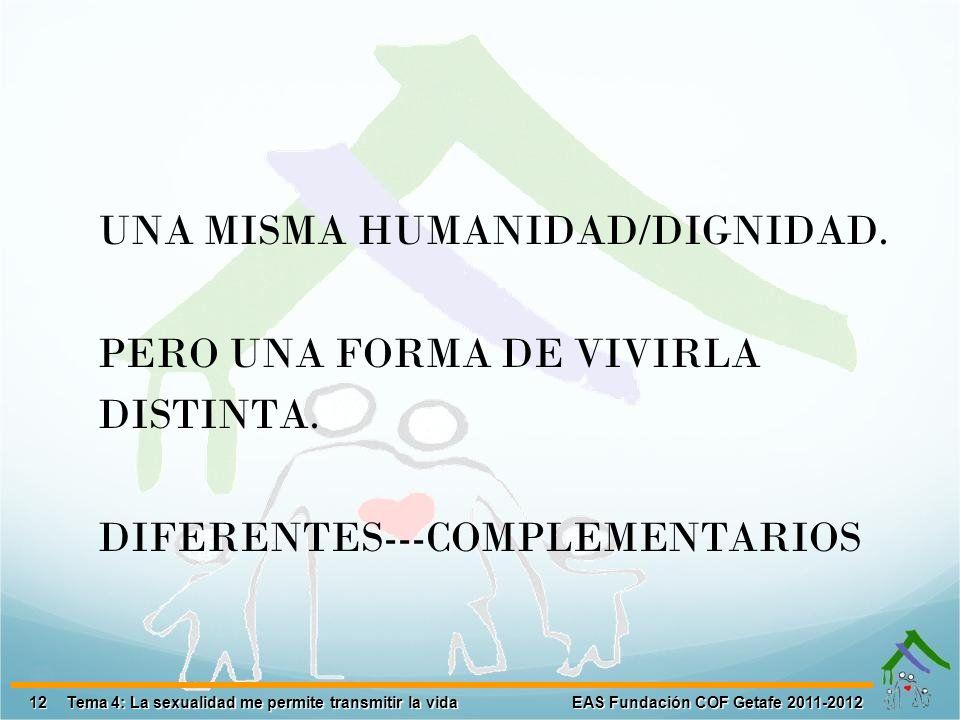 12 EAS Fundación COF Getafe 2011-2012 Tema 4: La sexualidad me permite transmitir la vida UNA MISMA HUMANIDAD/DIGNIDAD. PERO UNA FORMA DE VIVIRLA DIST