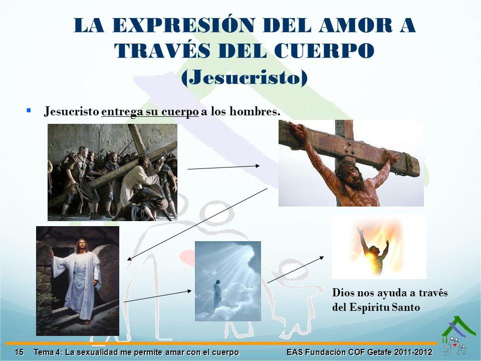 15 EAS Fundación COF Getafe 2011-2012 Tema 4: La sexualidad me permite amar con el cuerpo Jesucristo entrega su cuerpo a los hombres. LA EXPRESIÓN DEL