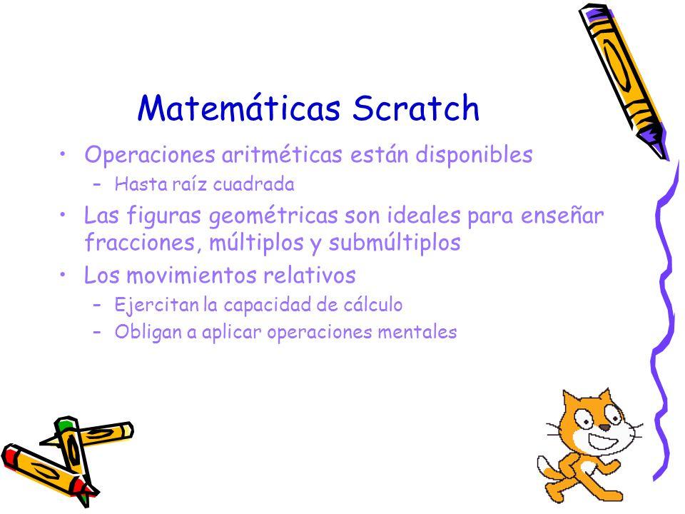 Matemáticas Scratch Operaciones aritméticas están disponibles –Hasta raíz cuadrada Las figuras geométricas son ideales para enseñar fracciones, múltip