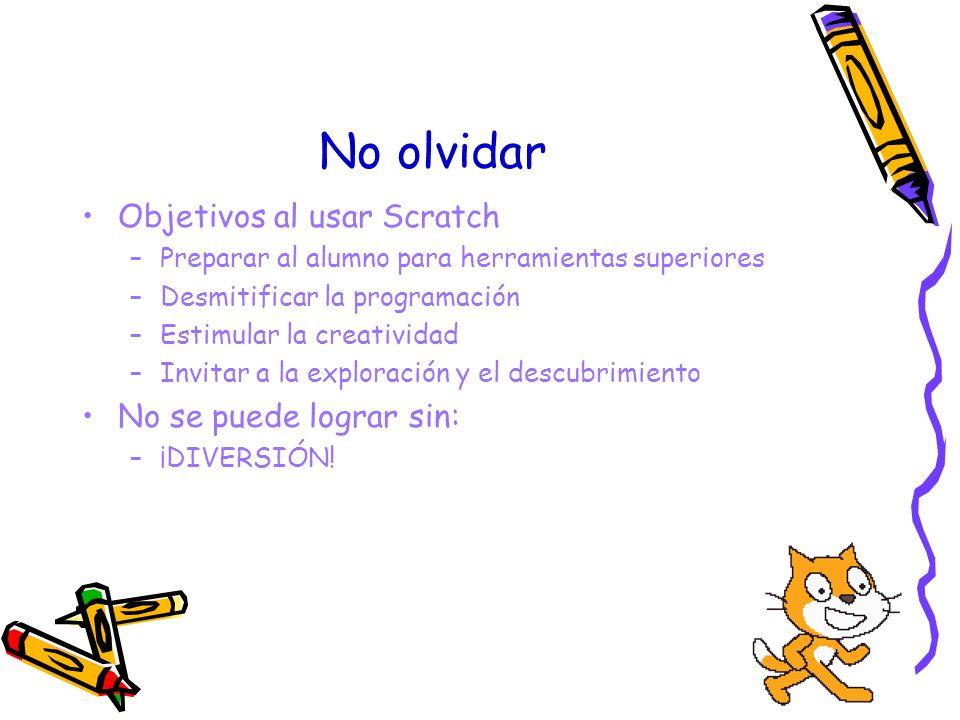 No olvidar Objetivos al usar Scratch –Preparar al alumno para herramientas superiores –Desmitificar la programación –Estimular la creatividad –Invitar