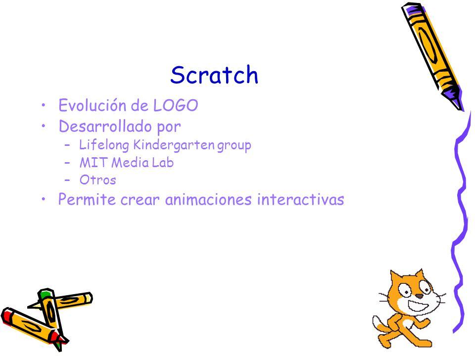 Scratch Evolución de LOGO Desarrollado por –Lifelong Kindergarten group –MIT Media Lab –Otros Permite crear animaciones interactivas