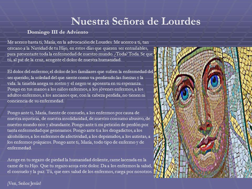 Nuestra Señora del Carmen Sábado II de Adviento Salve, estrella de los mares, de los mares iris de eterna ventura. Salve, ¡oh! Fénix de hermosura. Mad