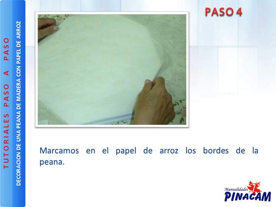 Marcamos en el papel de arroz los bordes de la peana. Marcamos en el papel de arroz los bordes de la peana. DECORACION DE UNA PEANA DE MADERA CON PAPE
