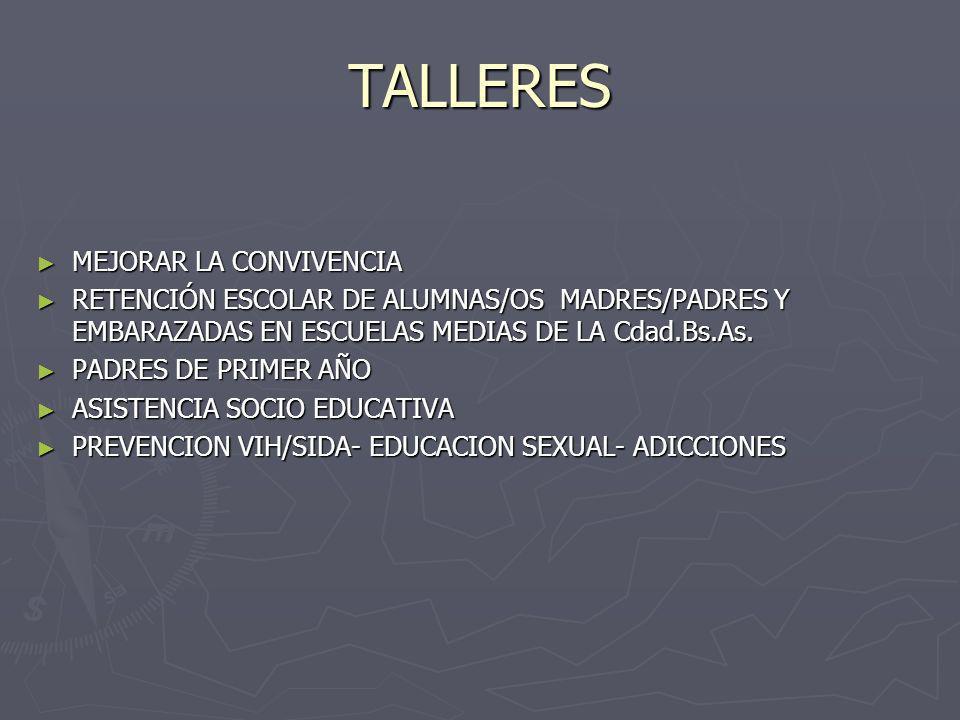 TALLERES MEJORAR LA CONVIVENCIA MEJORAR LA CONVIVENCIA RETENCIÓN ESCOLAR DE ALUMNAS/OS MADRES/PADRES Y EMBARAZADAS EN ESCUELAS MEDIAS DE LA Cdad.Bs.As.