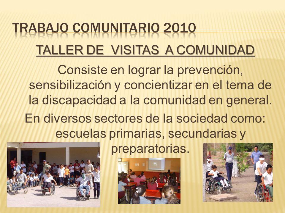 TALLER DE VISITAS A COMUNIDAD Consiste en lograr la prevención, sensibilización y concientizar en el tema de la discapacidad a la comunidad en general.