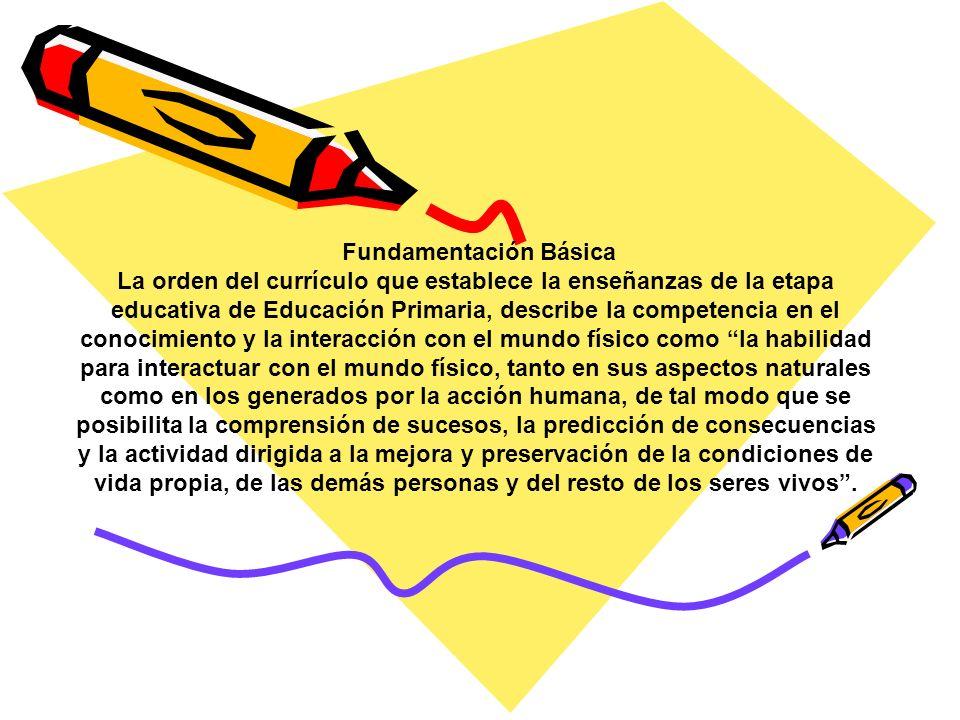 Fundamentación Básica La orden del currículo que establece la enseñanzas de la etapa educativa de Educación Primaria, describe la competencia en el co