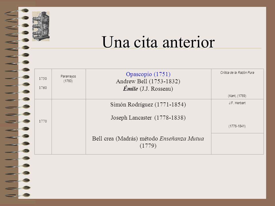 Una cita anterior 1750 1760 Pararrayos (1760) Opascopio (1751) Andrew Bell (1753-1832) Émile (J.J.