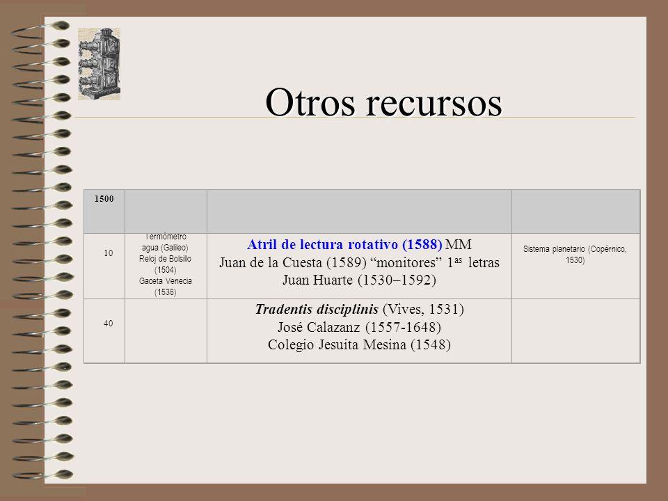 Otros recursos 1500 10 Termómetro agua (Galileo) Reloj de Bolsillo (1504) Gaceta Venecia (1536) Atril de lectura rotativo (1588) MM Juan de la Cuesta (1589) monitores 1 as letras Juan Huarte (1530–1592) Sistema planetario (Copérnico, 1530) 40 Tradentis disciplinis (Vives, 1531) José Calazanz (1557-1648) Colegio Jesuita Mesina (1548)